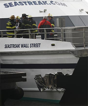 CRASH: The accident happened at a pier near the South Street Seaport, at Manhattan's southern tip.
