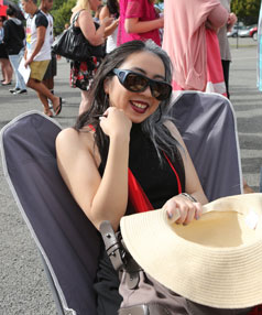 Francesca Lee took her chair and hat ready for the long haul as she waited her turn for the X-Factor New Zealand pre-auditions taking place at Addington raceway, Christchurch.