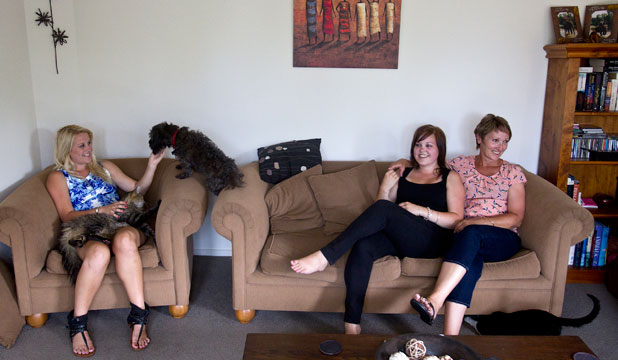 he Throsby family, from left,  Maria, 18, Amy, 20, and their mother,  Bev, are housesitting in Avonhead