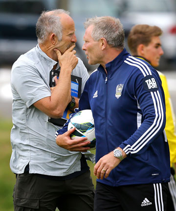 Phoenix owner Gareth Morgan gets involved at training.