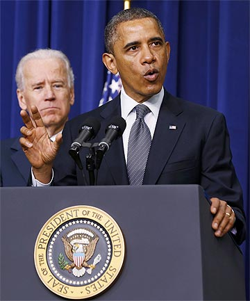 CRACKDOWN: US President Barack Obama and Vice President Joe Biden announce a series of proposals to counter gun violence during an event at the White House.