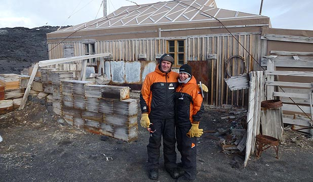 HISTORIC HUT: John and Bronagh Key at Anglo-Irish polar explorer Ernest Shackleton's hut at Cape Royds.