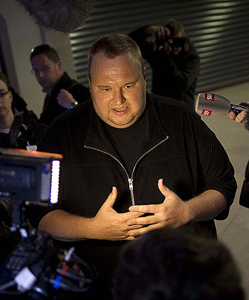 THINK BIG: Kim Dotcom at the launch of his cloud-based file storage site Mega.co.nz.