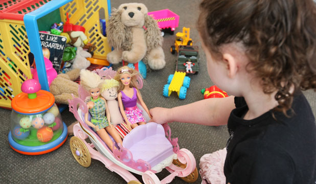 One of the 146 Invercargill children, who received a Christmas gift through the Salvation Army Adopt-A-Family programme, plays with her favourite present.
