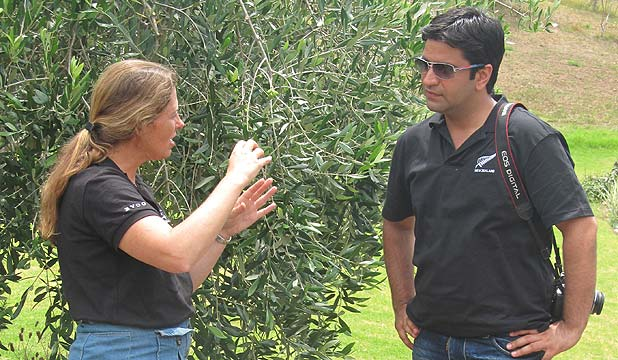 Anne Stanimiroff talks olive oil with  Indian MasterChef host and judge Kunal Kapur.