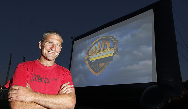MONSTER MOVIES: Chris Morley-Hall and his giant inflatable screen at Waitangi Park.
