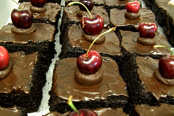 Chilli cherry chocolate cake by Anna Worthington
