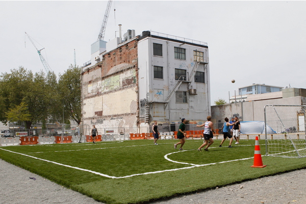 The Nike temporary football pitch which was set up on the corner of Colombo and Hereford St's in Christchurch will find a new home in the eastern Suburbs following the earthquakes