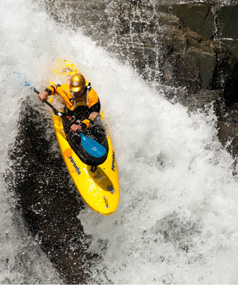 Paul Currant hits the first rapid in the upper reaches of the Waitaha River.