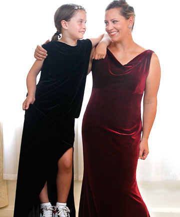 Beth Arko-Saindon wears her Oscars dress and  daughter Waverly tries out her mum's outfit for the Baftas