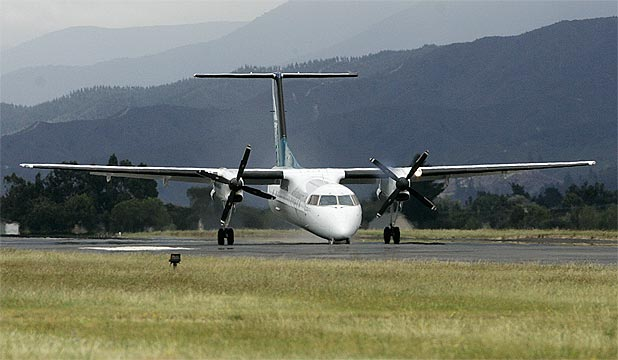 EMERGENCY LANDING: The Bombardier lands at Woodbourne air force base, west of Blenheim.