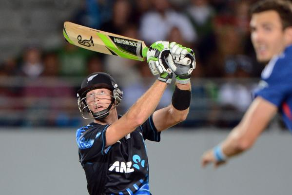 New Zealand batsman Martin Guptill plays a shot.