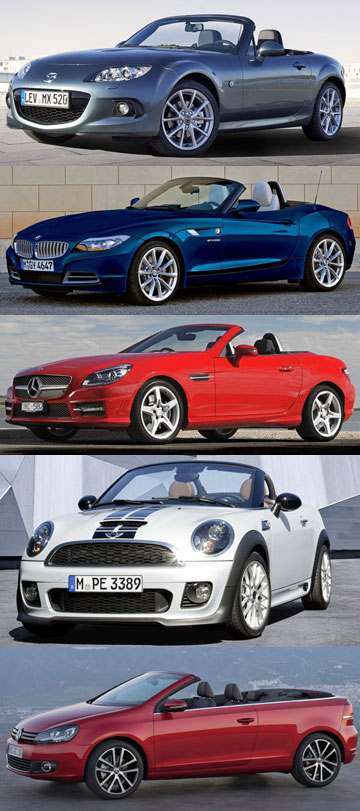 Mazda MX5, BMW Z4, Mercedes-Benz SLK, Mini Cooper S and Volkswagen Golf cabriolet.