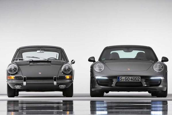 A 911 2.0 Coupe from 1964 and the new 911 Carrera 4S Coupe.