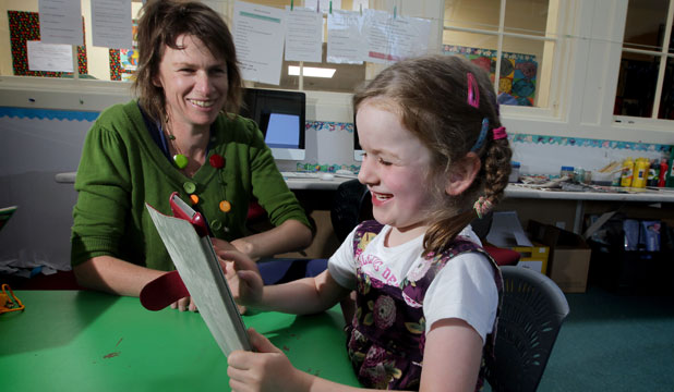 Central School teacher Jo Ross says there are endless ways to use digital devices in school classrooms and her daughter, Laura, 6, is already a whiz.