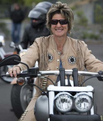 Jo Wiseman from Queenstown sets off on the Harley-Davidson mass ride at the Ellerslie Event Centre to celebrate 110 years of the brand.