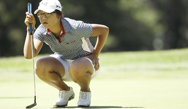 EYES ON THE PRIZE: Lydia Ko lines up a putt o
