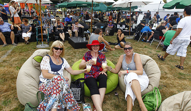 KICKING BACK: Sue Lomas, Pauline Sinel, and Sandra Groupsky soak in the atmosphere at the Waikato Times Food and Wine Festival. This year the event was held for the first time at Claudelands Event Centre.