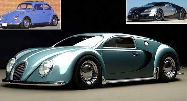 The 1945 Bugatti Veyron which is a combination of the VW Beetle (inset left) and the Bugatti Veyron supercar (inset right).
