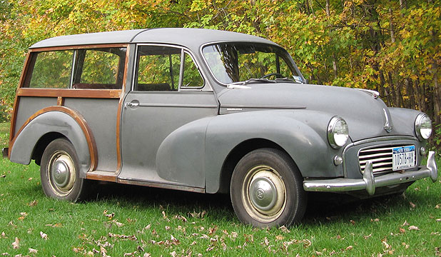 The rear frame of the 1961 Morris Minor Traveller is made out of wood and the roof is attached by brad tacks.