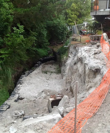 The retaining wall on the Mangarau Stream in Havelock North th