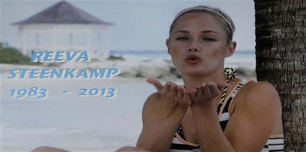 A frame-grab from SABC shows a tribute devoted to slain model Reeva Steenkamp, girlfriend