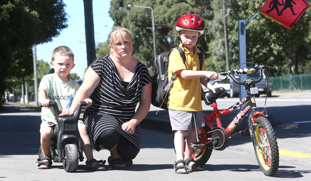 Talia Menzies, with her sons Cody, 7, right, and Ashton, 3. Menzies is worried at how her family will cope with the proposed closure of Kendal School.
