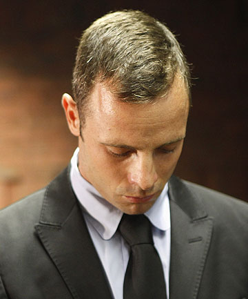 IN THE DOCK: Oscar Pistorius during a break in proceedings a