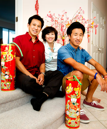 : David Lo, Catherine Lo and son Edward Lo with some of their Chinese New Year decorations