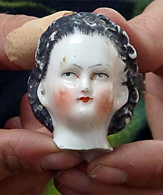 A 19th century doll's head