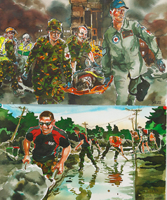 New Zealand Defence Force artist Matt Gauldie documented the effects of the Christchurch earthquakes.