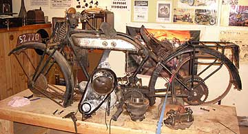 John Pateman's 1928 Norton motorcycle before he began restoration work.