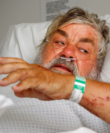 Brian Waghorn recovers in  hospital after falling  on rocks  and being swept into the sea while fishing at Castlepoint