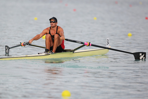 Nathan Cohen of Southern competes in the Mens Premier IX semi final during day 3 of the New Zealand Rowing Championships at Lake Ruataniwha in February in Wellington.
