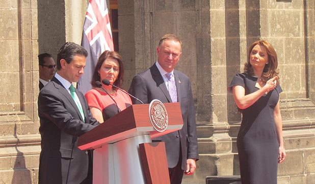 TRADE TALKS: Prime Minister John Key meets Mexican President Enrique Pena Nieto and wife Angelica Rivera in Mexico City.