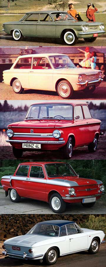 Chevrolet Corvair, Hillman Imp, NSU Prinz 4, Zaporozhets 968 and the VW Karmann Ghia.