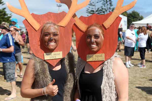 Left Kylie McNeilly. 23 and her sister rachel, 21. from Invercargill at the Hokitika Wildfood Festival