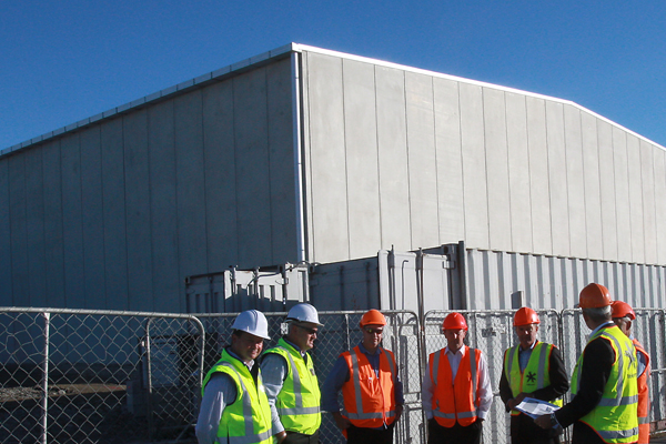 Telecom and Christchurch Airport executives at the multimillion dollar data centre that should be fitted out by the end of June.