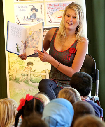 Margaret Mahy's granddaughter, Alice Mahy, reads one of her grandmother's much-loved stories to a class of children