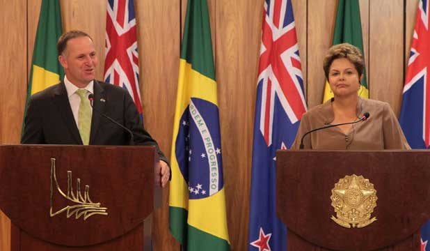 John Key and Brazilian President Dilma Rousseff