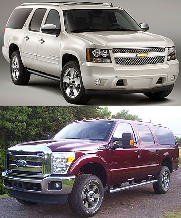 The Chevrolet Suburban (top) and the now defunct Ford Excursion.
