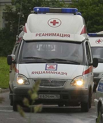 A Russian ambulance similar to those authorities believe are being fitted out as luxurious taxis in an effort for rich customers to beat traffic jams in Moscow.