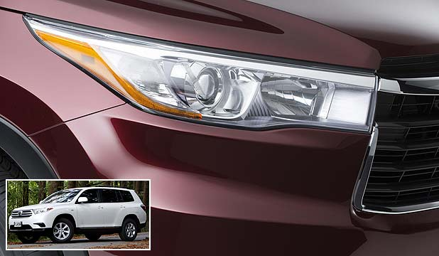 Toyota's teaser image of the next-generation Highlander SUV and picture of a 2010 Highlander (inset).