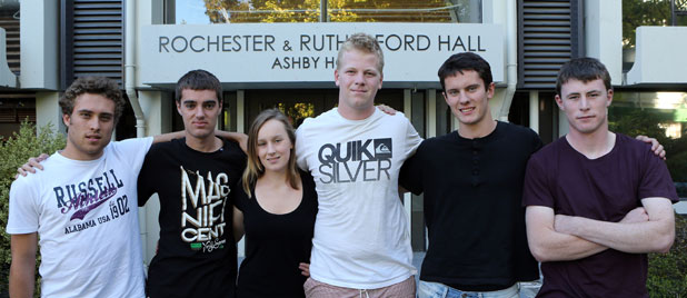 Flatmates and friends of Nick Renouf, from left, Ben Mulholland, Kerry Wilson, Bridget Southey-Jensen, Jake Ferguson, Matt Neville-Lamb and Mitchell Beggs