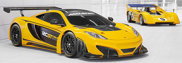 A McLaren Can-Am M8D Can-Am from the 1960s-70s sets behind a new McLaren 12C GT Can-Am Edition.