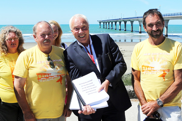 David East present Mayor Bob Parker with a petition calling for a water park in New Brighton.