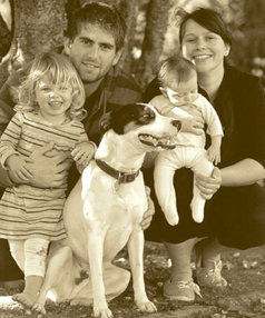 LOST TO THE FLAMES: Ben McBride, pictured, died in a fire on Saturday. Also pictured is his partner Renee Johnson and their children, Mia, now 3, Ruby, now 9 months, and dog Patch.
