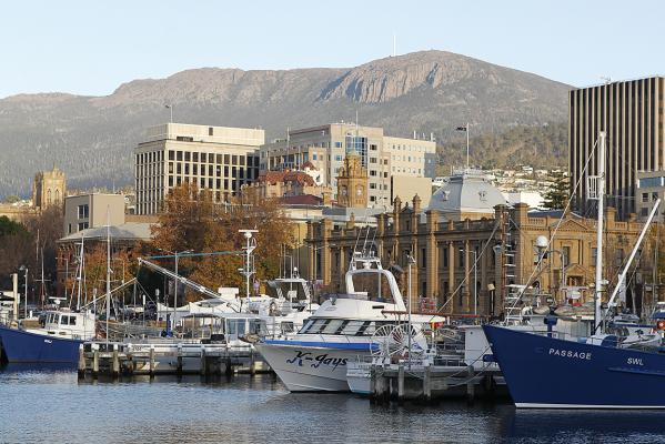Downtown wharf area in Hobart
