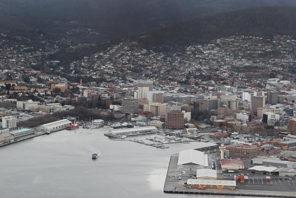 Hobart from a seaplane