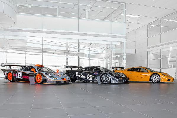 McLaren's F1 GTR Longtail (left), Le Mans winning McLaren F1 GTR (centre) and the McLaren F1 LM.